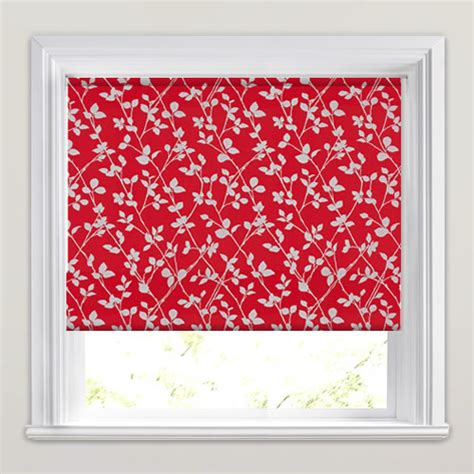 red patterned roller blinds contemporary red metallic silver leaves patterned roller