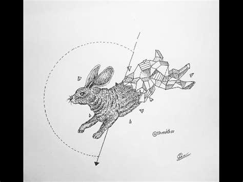 how to draw a geometrical rabbit youtube