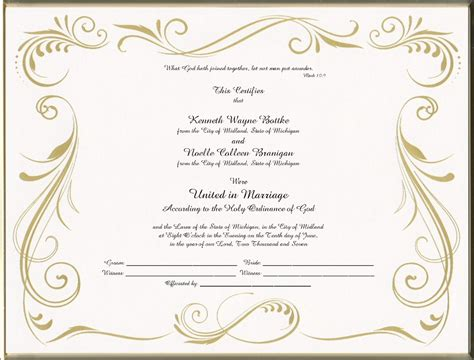 28 wedding certificate templates free printable
