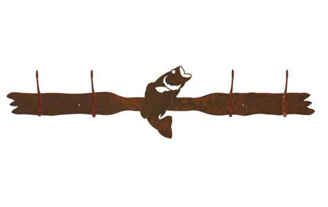 Metal Wall Coat Rack by Bass Fish Four Hook Metal Wall Coat Rack