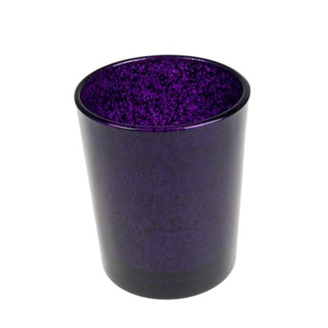 purple flecked glass tealight candle holder 65mm decorations for wedding receptions