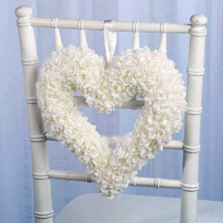 Lawn Chair Usa Reviews 12 Quot White Silk Rose Heart Chair Hanging Wreath Wedding