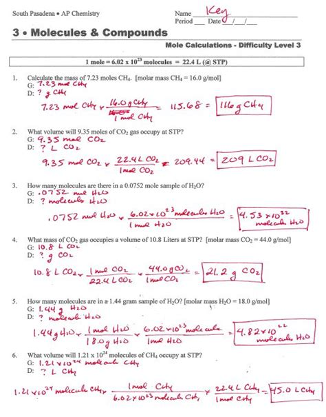 Molar Mass Worksheet Answers With Work molar mass worksheet answer key free worksheets library