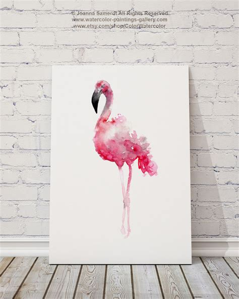 flamingo print pink wall decor bird watercolor painting