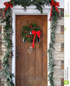 Front door with christmas decorations stock photo image 12329190