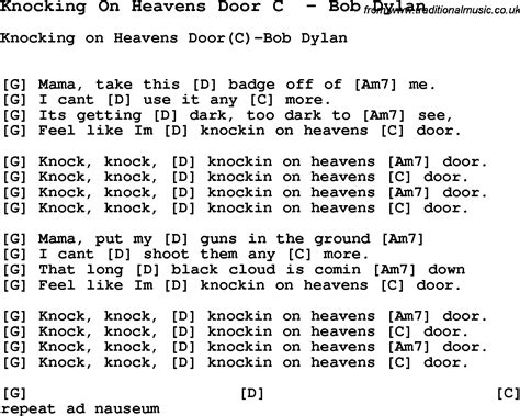 Knock Knocking On Heavens Door Lyrics by Song Knocking On Heavens Door C By Bob Song Lyric