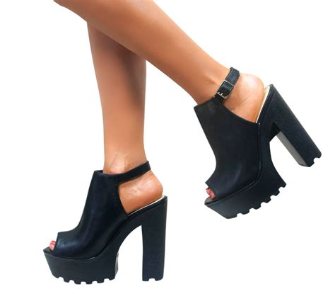 chunky heel high heels womens cleated sole chunky heels block platform