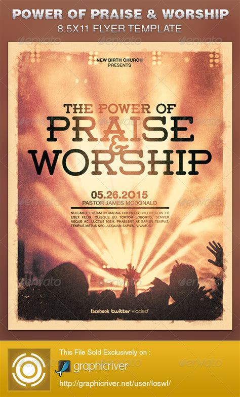 worship bulletin template power of praise and worship church flyer template church