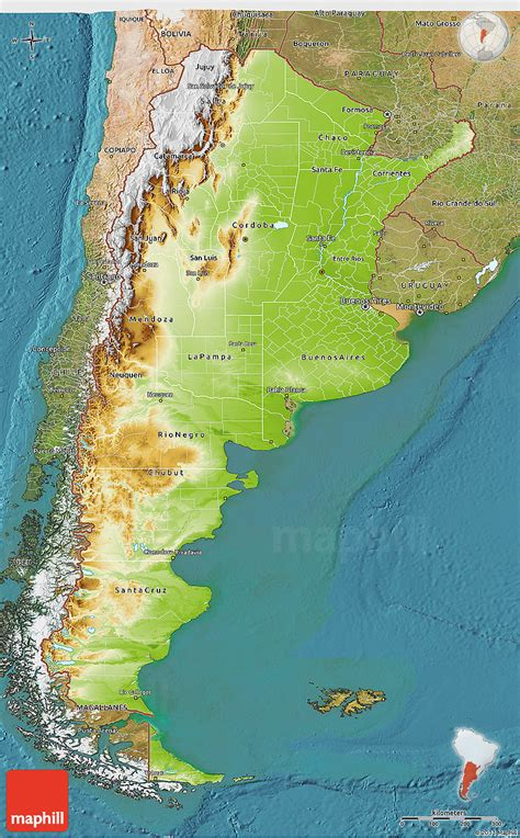 argentina physical map physical 3d map of argentina satellite outside