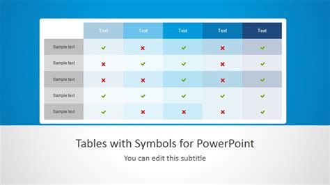 Tables With Symbols For Powerpoint Powerpoint Table Template