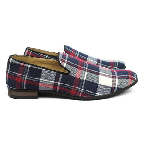 plaid loafers blue plaid slip on textile loafers azar suits