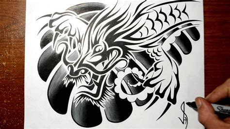 designing a tribal chinese dragon chest tattoo design