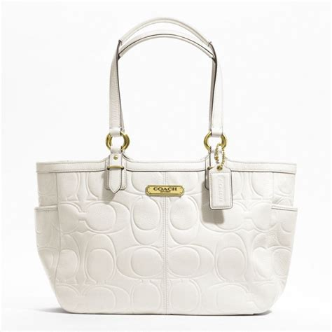 Coach Bag White by Coach Handbag Gallery Embossed Leather Tote White C805
