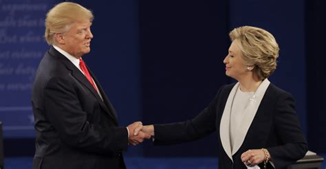 donald trump handshake the very awkward moment trump and clinton met and didn t