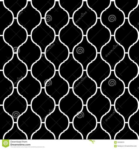 black and white quatrefoil wallpaper seamless arabic geometric pattern 3d white background