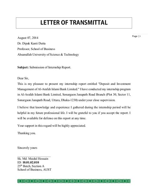 Transmittal Letter To A Bank Internship Report On Deposit And Investment Management Of Al Arafah I