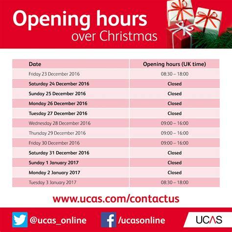 christmas opening hours undergraduate ucas