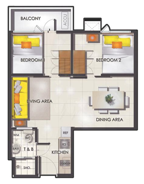 floor plan with balcony smdc sun residences condominium philippines