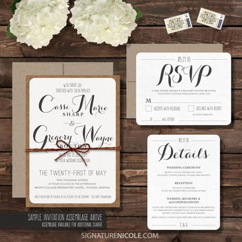 8 Cards To Send For A Wedding by Sle Rustic Wedding Invitation With Rsvp And Detail