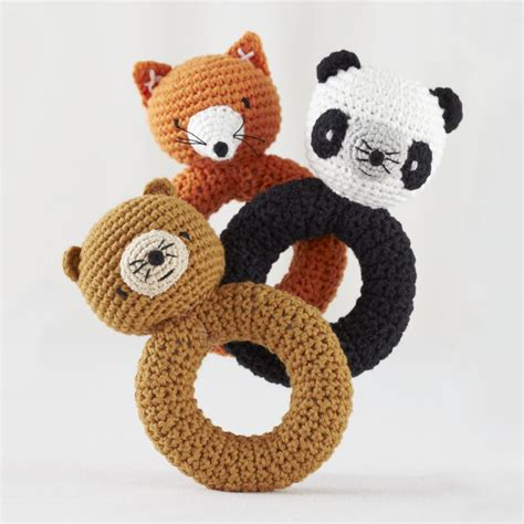 knitted baby rattle fox animal knit rattle the land of nod
