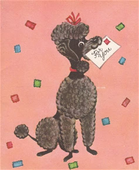 vintage birthday card poodle part of my vintage greeting two crafters january birthday call