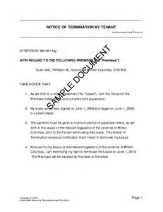 Notice of Termination by Tenant (Canada)   Legal Templates