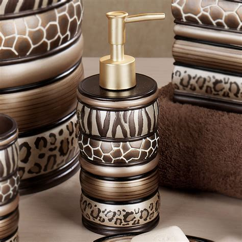 safari stripes animal print bath accessories