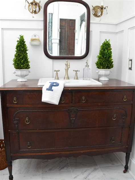 turn a vintage dresser into a bathroom vanity hgtv