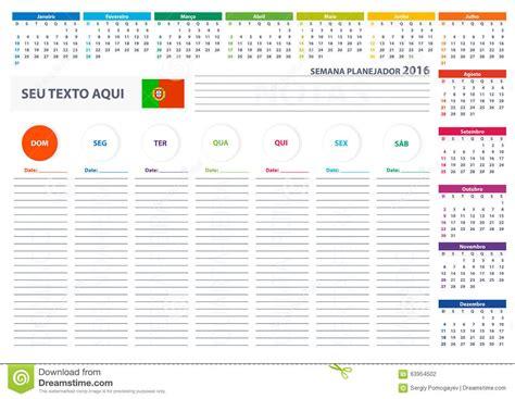 time design planner 2016 portuguese week planner calendar vector design