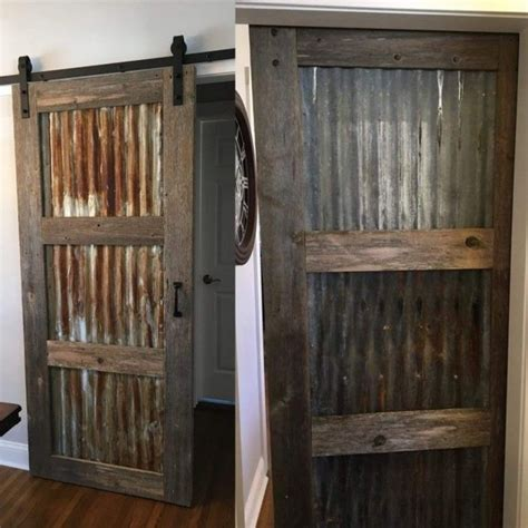 corrugated metal barn door farmhouse room