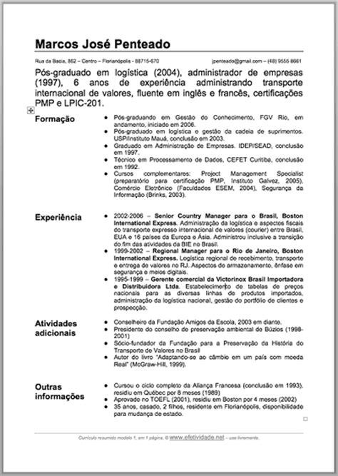 Modelo Curriculum Vitae Brasil Modelo De Curriculum Vitae Bigw Brasil
