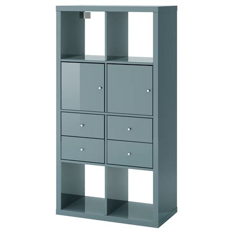 kallax shelving unit with 4 inserts high gloss grey