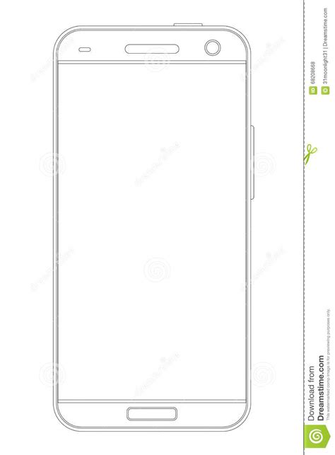 drafting free outline drawing smartphone stock vector image 68208668