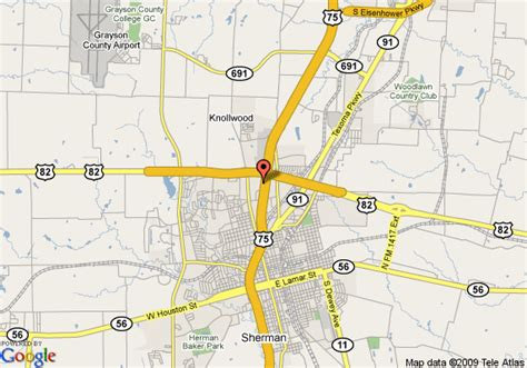 where is sherman texas on the map map of hton inn sherman sherman