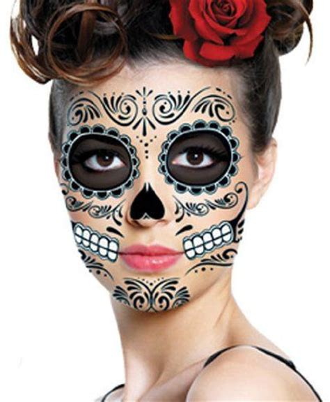 halloween face tattoos black skeleton day of the dead temporary