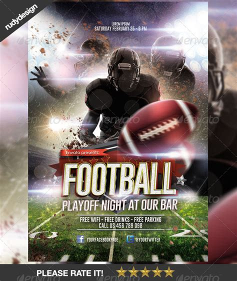 american football playoff night template design