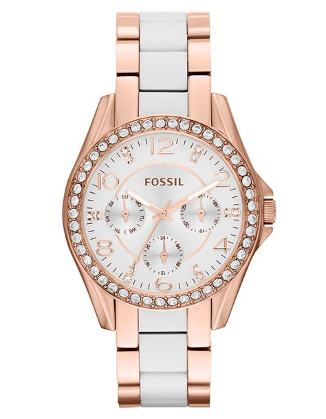 Fossil Fs097 Rosegold White fossil goldtone white crystallized in pink gold lyst