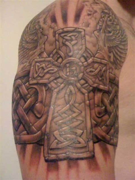 celtic cross sleeve tattoos 49 cross shoulder tattoos