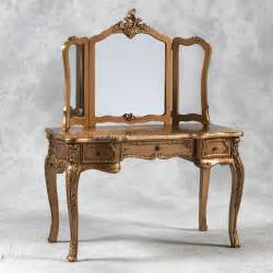 dressing table and mirror in gold