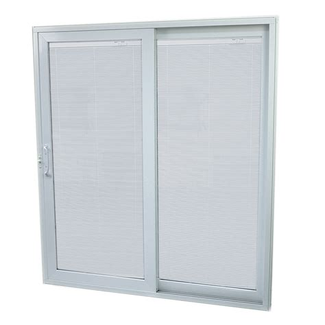 Lowes Blinds For Sliding Glass Doors Shop Securaseal 59 In Low E Argon Blinds Between Glass Composite Sliding Patio Door At Lowes