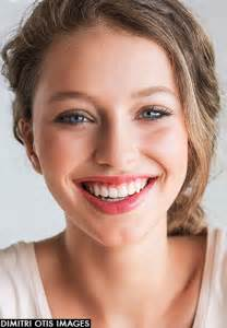 images teenage girl: young teenage model with broad smile and blue eyes