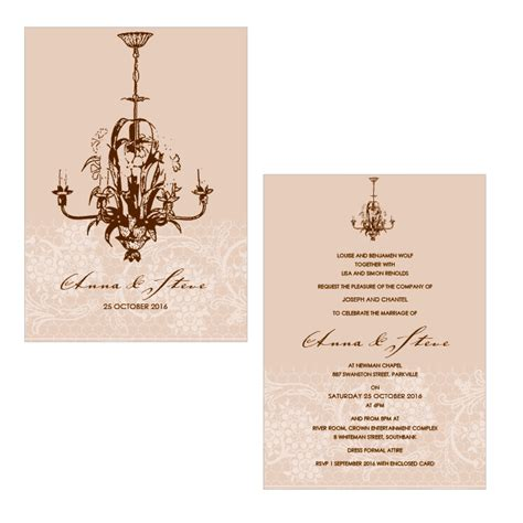 Chandelier Wedding Invitations Alannah Wedding Invitations Stationery Shop Chantilly Chandelier Latte A6