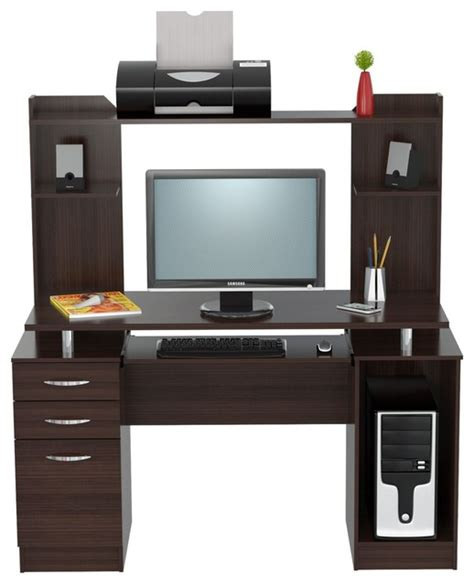 inval computer desk with hutch inval america inval credenza computer work center with