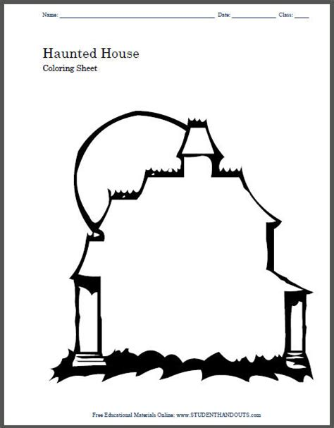 blank house coloring page haunted house coloring page student handouts