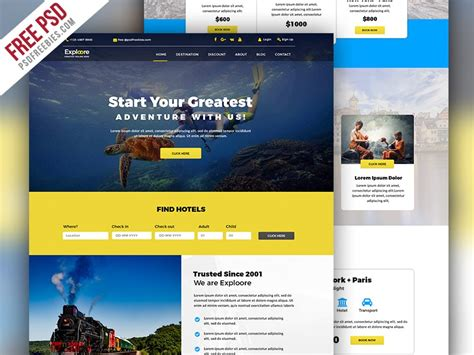Tour And Travel Booking Website Template Psd Download Download Psd Travel Booking Website Templates Free