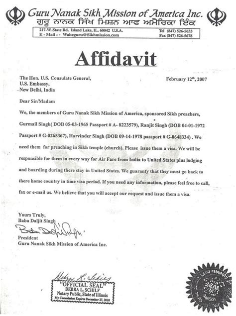 Affidavit Of Support Letter For Visa Affidavit Of Relationship Sle Letters The Knownledge