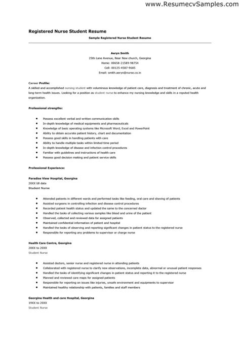 resume for nurses free sle student resume free excel templates