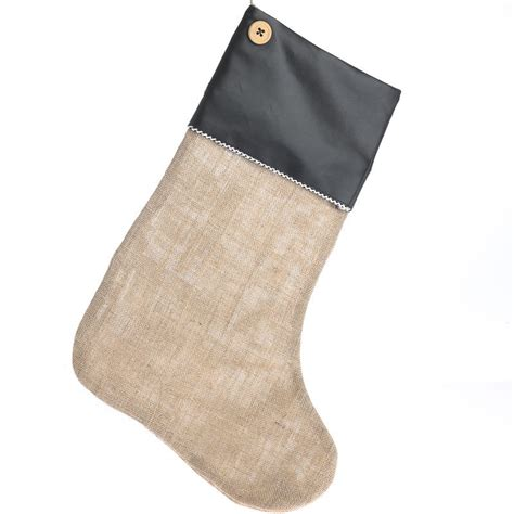 large chalkboard leather cuff natural burlap stocking