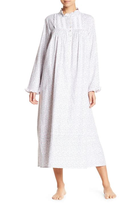 Gue3908 Guess White Soft Lace Trim Langsleeve Top lyst eileen west sleeve printed ballet nightgown in white