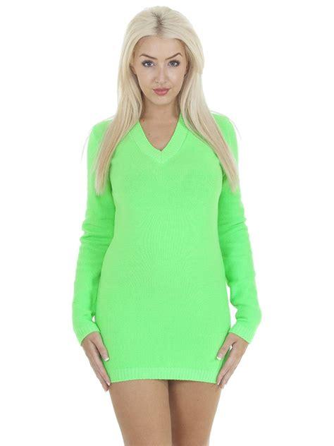 Plain Jumper Dress new womens plain v neck knit knitted jumper